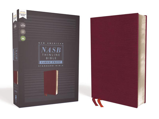 NASB, Thinline Bible, Large Print, Bonded Leather, Burgundy, Red Letter Edition, 1995 Text, Comfort Print