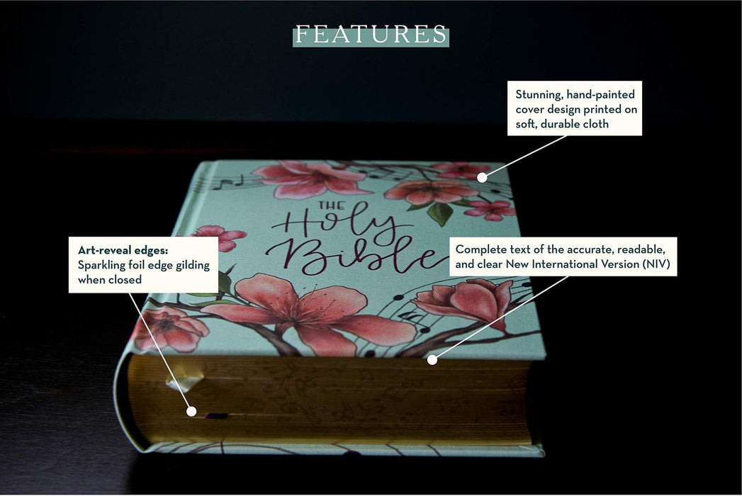 NIV, Artisan Collection Bible, Cloth over Board, Teal Floral, Designed Edges under Gilding, Red Letter Edition, Comfort Print