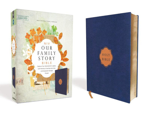 NIV, Our Family Story Bible, Leathersoft over Board, Navy, Red Letter Edition, Comfort Print: Capture Your Generation's Legacy with Memory-Creating Activities and Keepsake Storage Pocket