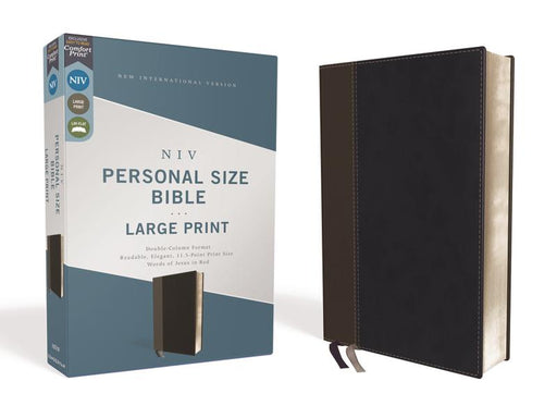NIV, Personal Size Bible, Large Print, Leathersoft, Black, Red Letter Edition, Comfort Print