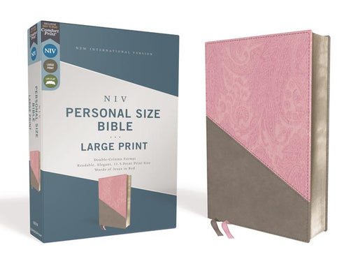 NIV, Personal Size Bible, Large Print, Leathersoft, Pink/Gray, Red Letter Edition, Comfort Print