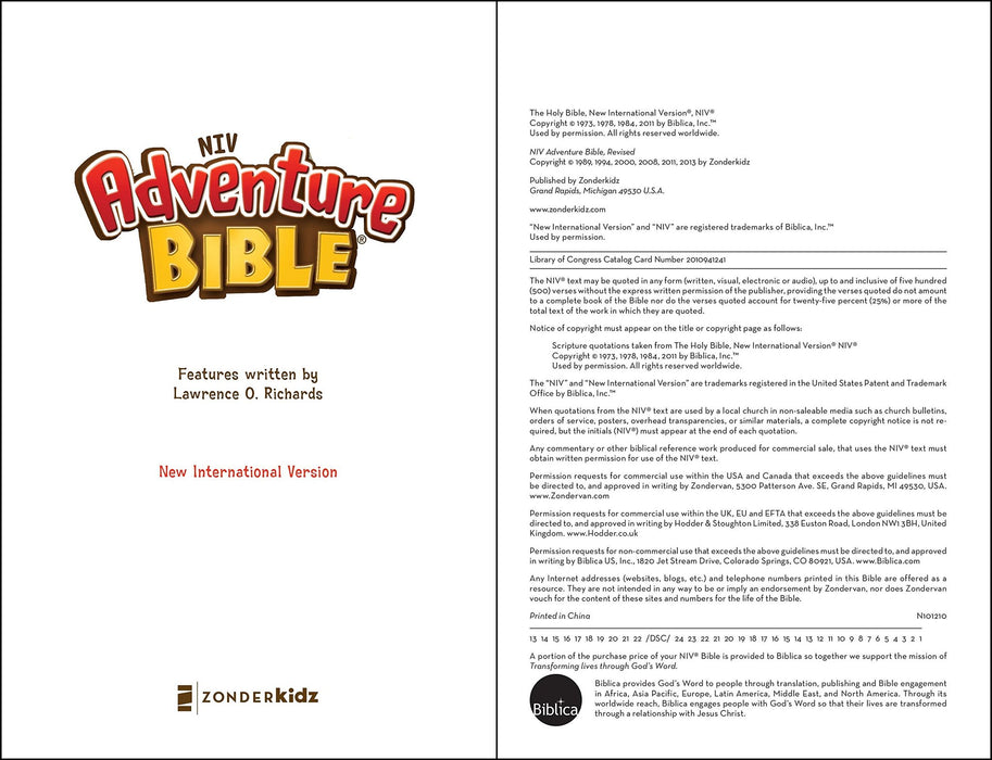 NIV, Adventure Bible, Hardcover, Full Color, Indexed