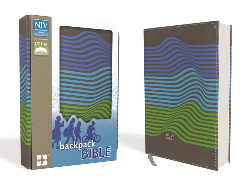 NIV, Backpack Bible, Compact, Leathersoft, Charcoal/Stripes