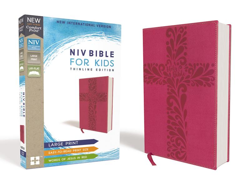 NIV, Bible for Kids, Large Print, Leathersoft, Pink, Red Letter Edition, Comfort Print: Thinline Edition