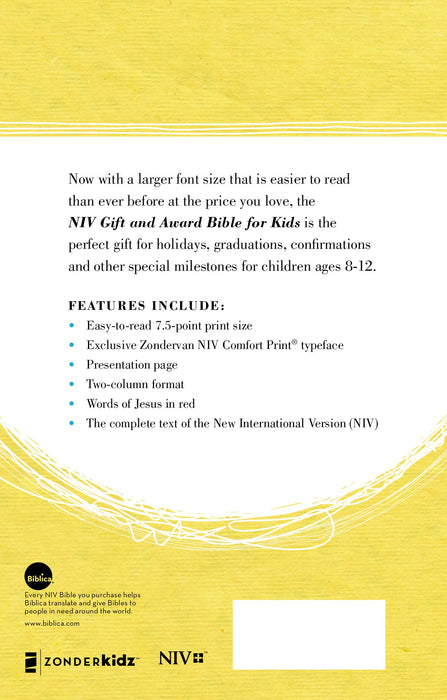 NIV, Gift and Award Bible for Kids, Flexcover, Pink, Comfort Print NIV, Gift and Award Bible for Kids, Flexcover, Pink, Comfort Print