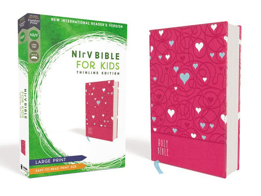 NIrV, Bible for Kids, Large Print, Leathersoft, Pink, Comfort Print: Thinline Edition