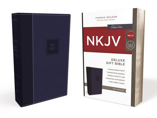 NKJV, Deluxe Gift Bible, Leathersoft, Blue, Red Letter Edition, Comfort Print: Holy Bible, New King James Version