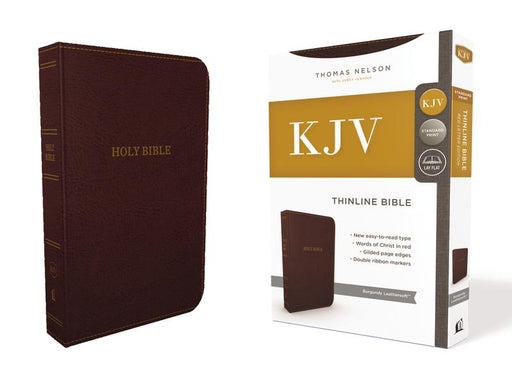 KJV, Thinline Bible, Leathersoft, Burgundy, Red Letter Edition, Comfort Print: Holy Bible, King James Version