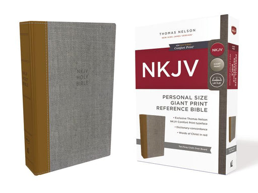 NKJV, Reference Bible, Personal Size Giant Print, Cloth over Board, Tan/Gray, Red Letter Edition, Comfort Print: Holy Bible, New King James Version