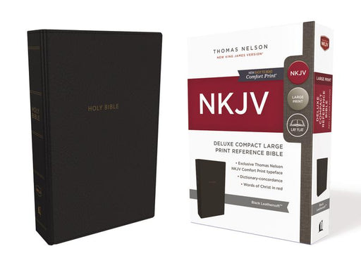 NKJV, Deluxe Reference Bible, Compact Large Print, Leathersoft, Black, Red Letter Edition, Comfort Print: Holy Bible, New King James Version