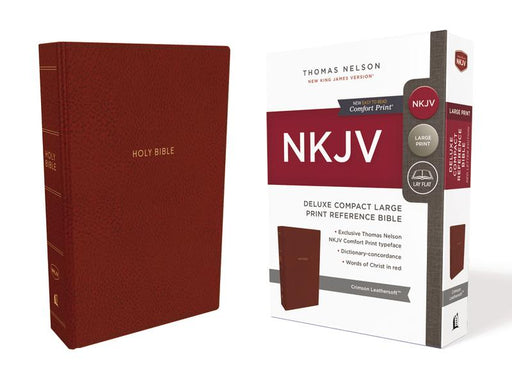NKJV, Deluxe Reference Bible, Compact Large Print, Leathersoft, Red, Red Letter Edition, Comfort Print: Holy Bible, New King James Version