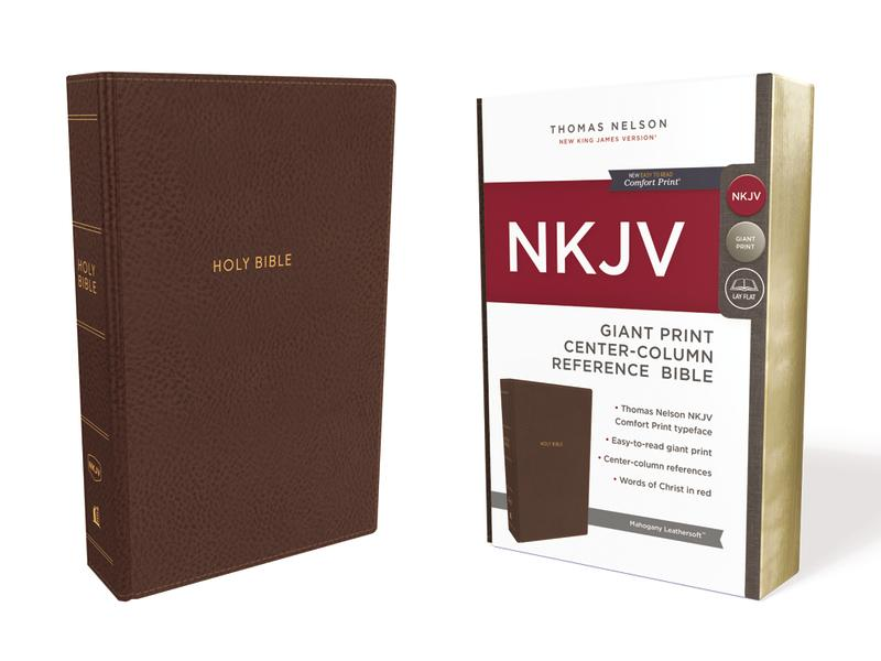 NKJV, Reference Bible, Center-Column Giant Print, Leathersoft, Brown, Red Letter Edition, Comfort Print: Holy Bible, New King James Version