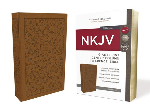 NKJV, Reference Bible, Center-Column Giant Print, Leathersoft, Tan, Red Letter Edition, Comfort Print: Holy Bible, New King James Version
