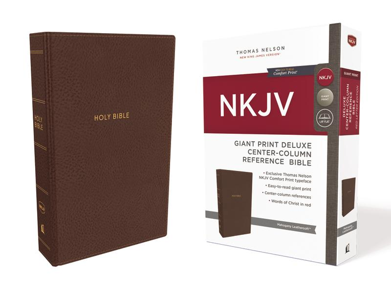 NKJV, Deluxe Reference Bible, Center-Column Giant Print, Leathersoft, Brown, Red Letter Edition, Comfort Print: Holy Bible, New King James Version