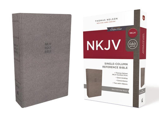 NKJV, Single-Column Reference Bible, Cloth Over Board, Gray, Comfort Print: Holy Bible, New King James Version