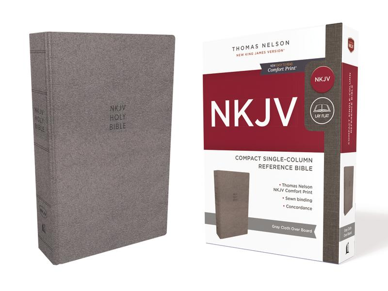 NKJV, Compact Single-Column Reference Bible, Cloth Over Board, Gray, Comfort Print: Holy Bible, New King James Version