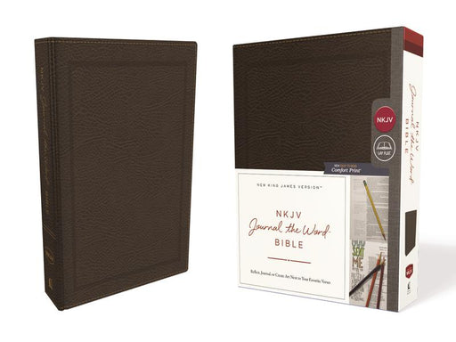 NKJV, Journal the Word Bible, Bonded Leather, Brown, Red Letter Edition, Comfort Print: Reflect, Journal, or Create Art Next to Your Favorite Verses