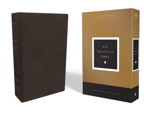 KJV, Preaching Bible, Premium Calfskin Leather, Brown, Comfort Print: Holy Bible, King James Version