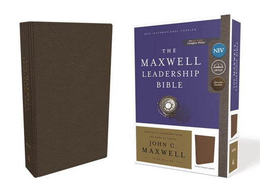 NIV, Maxwell Leadership Bible, 3rd Edition, Genuine Leather, Brown, Comfort Print: Holy Bible, New International Version