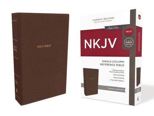 NKJV, Single-Column Reference Bible, Leathersoft, Brown, Comfort Print: Holy Bible, New King James Version