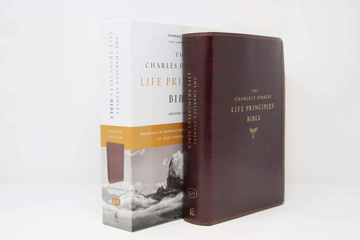 KJV, Charles F. Stanley Life Principles Bible, 2nd Edition, Leathersoft, Burgundy, Thumb Indexed, Comfort Print: Growing in Knowledge and Understanding of God Through His Word