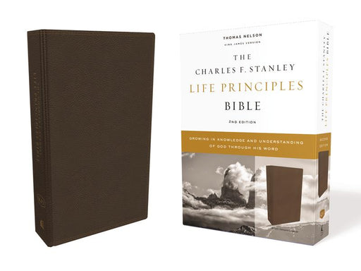 KJV, Charles F. Stanley Life Principles Bible, 2nd Edition, Genuine Leather, Brown, Comfort Print: Growing in Knowledge and Understanding of God Through His Word