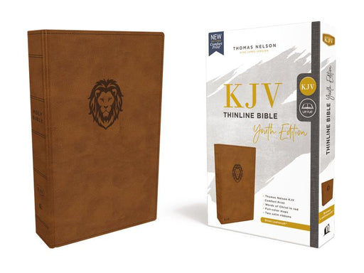 KJV, Thinline Bible Youth Edition, Leathersoft, Brown, Red Letter Edition, Comfort Print: Holy Bible, King James Version
