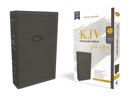 KJV, Thinline Bible Youth Edition, Leathersoft, Gray, Red Letter Edition, Comfort Print: Holy Bible, King James Version