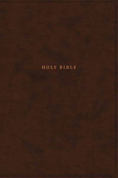 NKJV, Reference Bible, Classic Verse-by-Verse, Center-Column, Leathersoft, Brown, Thumb Indexed, Red Letter Edition, Comfort Print: Holy Bible, New King James Version