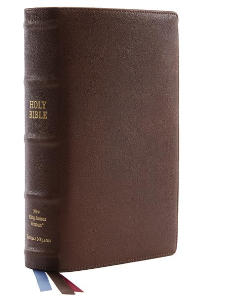 NKJV, Single-Column Reference Bible, Premium Goatskin Leather, Brown, Premier Collection, Comfort Print: Holy Bible, New King James Version