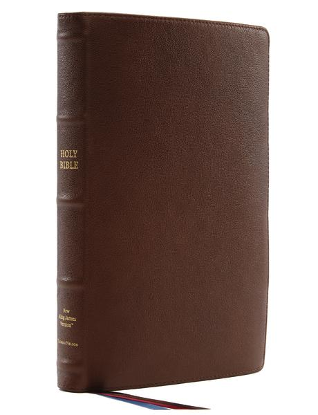 NKJV, Thinline Reference Bible, Large Print, Premium Goatskin Leather, Brown, Premier Collection, Comfort Print: Holy Bible, New King James Version