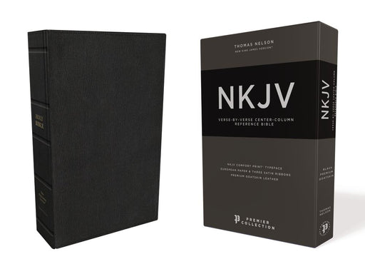 NKJV, Reference Bible, Classic Verse-by-Verse, Center-Column, Premium Goatskin Leather, Black, Premier Collection, Red Letter Edition, Comfort Print: Holy Bible, New King James Version