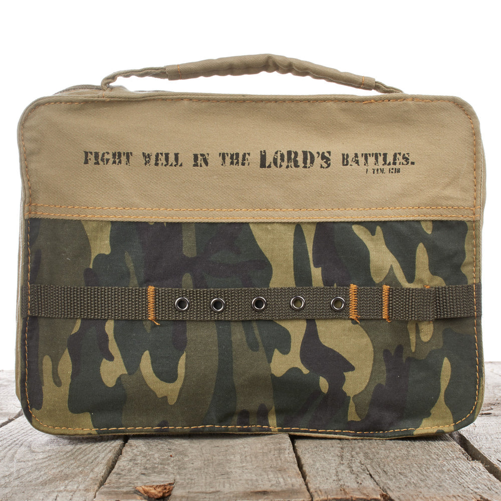 Camouflage Cotton 1 Timothy 1:18 Bible Cover