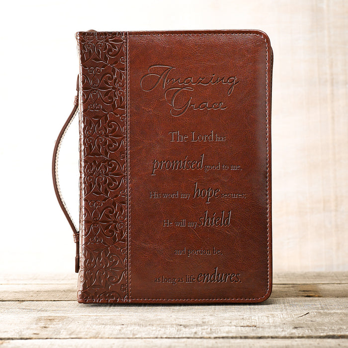 Amazing Grace in Brown Bible Cover