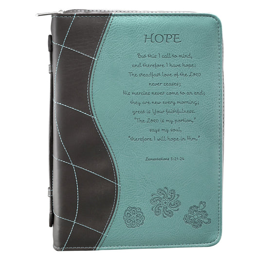 Hope in Turquoise Lamentations 3:21-24 Bible Cover