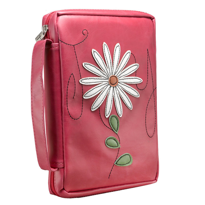 Joy Flower Applique in pink Psalms 16:11 Bible Cover