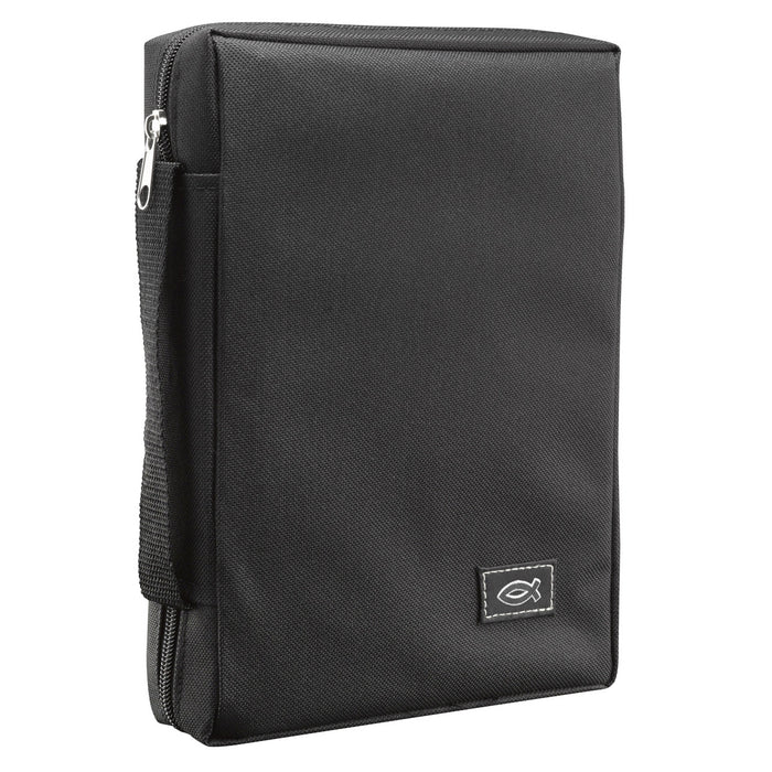 Polyester Canvas with Fish Emblem in Black Bible Cover