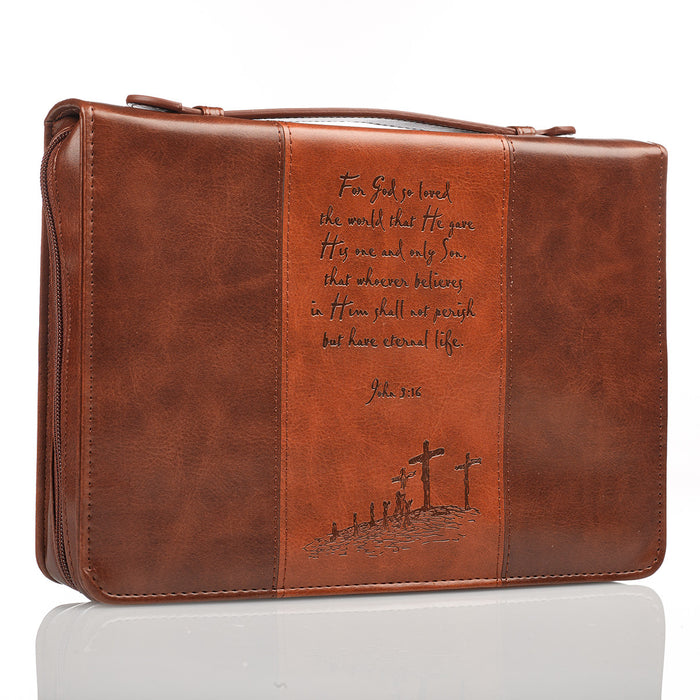For God so loved the World in Brown & Tan John 3:16 Bible Cover