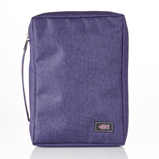 Poly-Canvas with Fish Applique in Purple Bible Cover