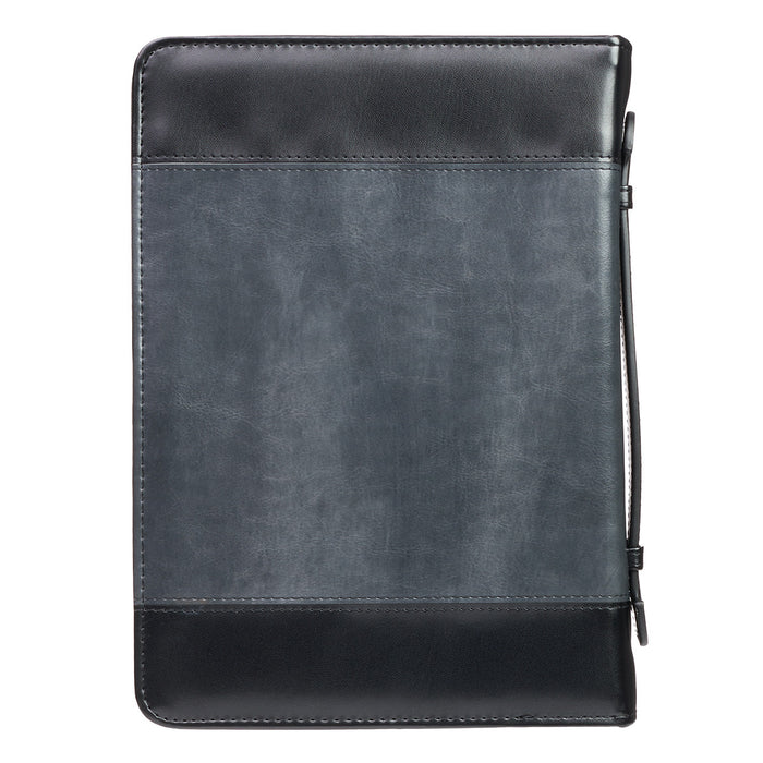 Be Strong Lion Two-Tone Black Bible Cover - Joshua 1:9