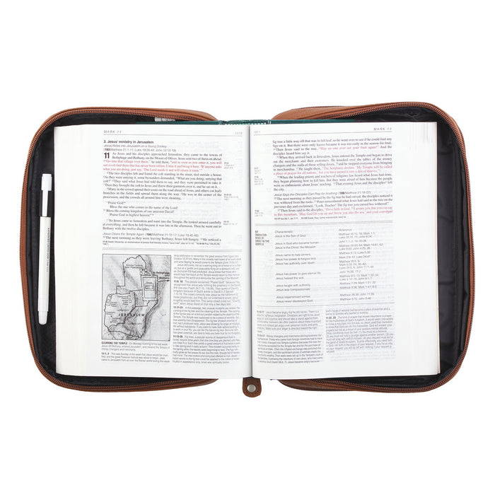Full Grain Leather Bible/Book Cover in Tan with Fish Emblem