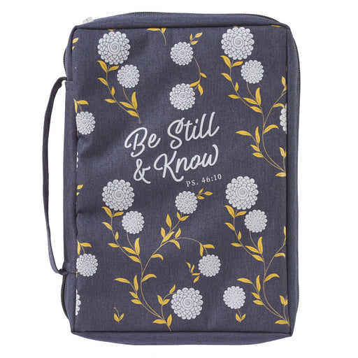 Be Still and Know Navy Poly-Canvas Bible Cover