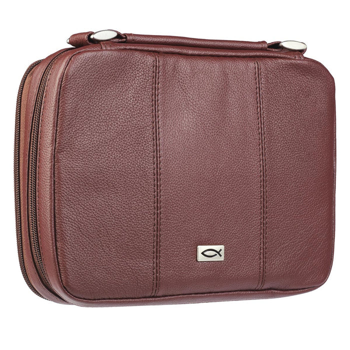 Ichtus Full Grain Leather Bible Case in Russet Brown