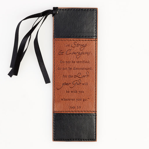 Strong and Courageous in black and tan - Joshua 1:9 Bookmark