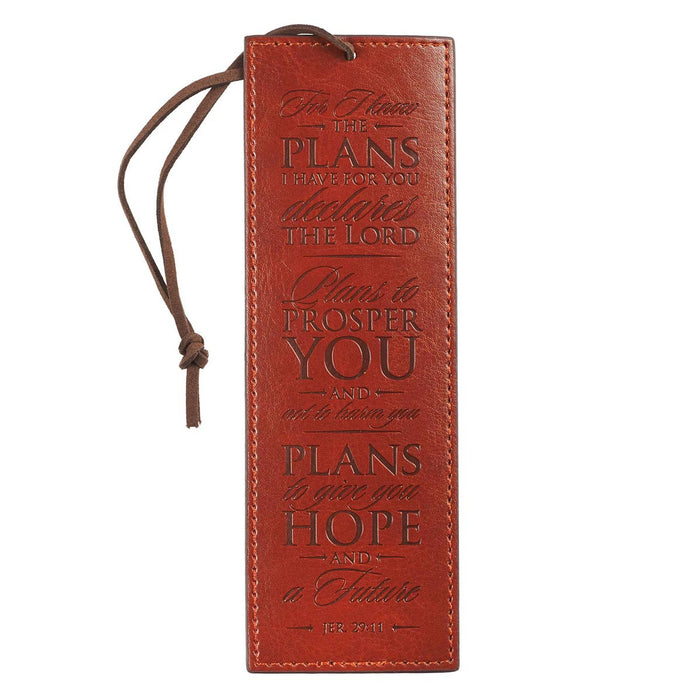 For I Know The Plans Brown Faux Leather Bookmark in - Jeremiah 29:11