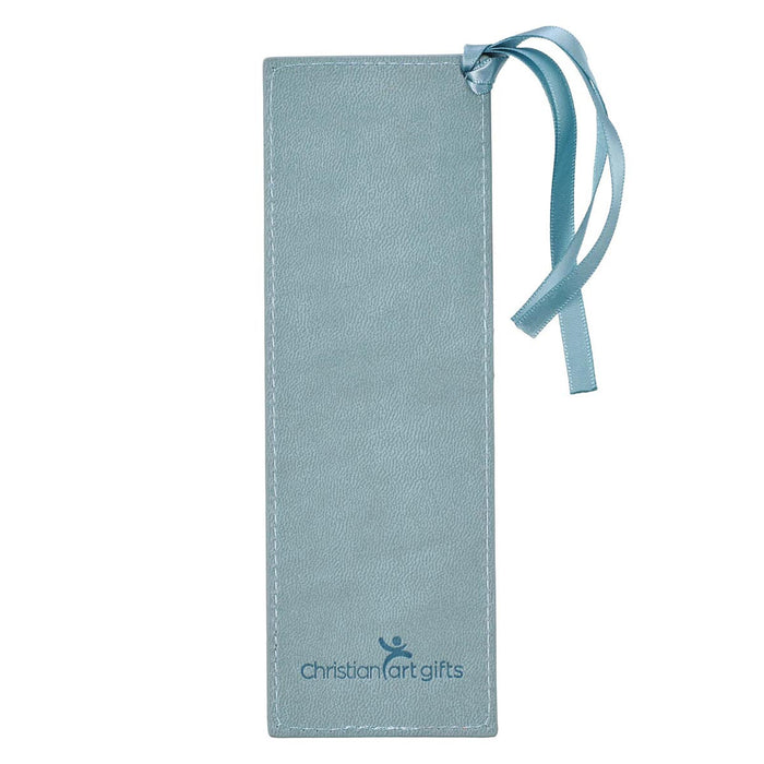 Hope & a Future Powder Blue Faux Leather Bookmark - Jeremiah 29:11