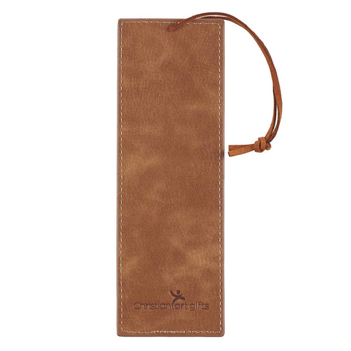 Trust In The Lord Faux Leather Bookmark in Brown - Proverbs 3:5