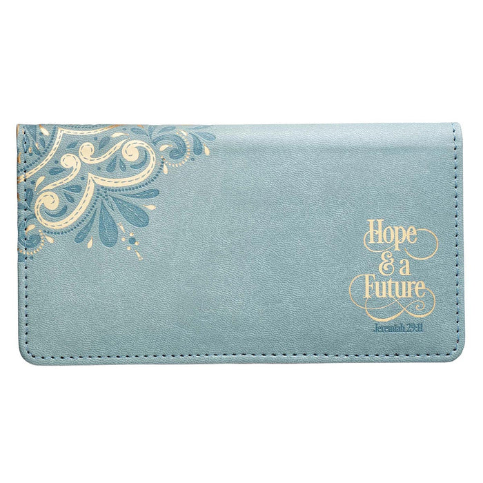 Hope & a Future Powder Blue Faux Leather Checkbook Cover - Jeremiah 29:11