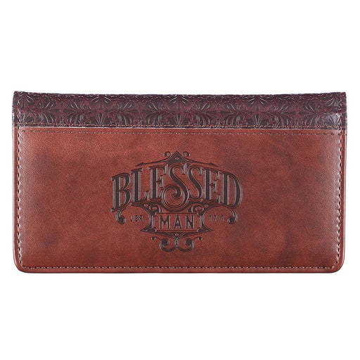 Blessed Man Two-tone Brown Faux Leather Checkbook Cover - Jeremiah 17:7