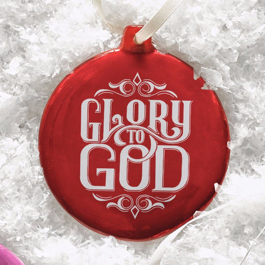 Ornament Round Glory to God Red